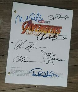 AVENGERS Infinity War CAST signed script Chadwick Loki Chris Hemsworth Marvel