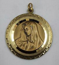 PENDENTIF MEDAILLE VIERGE MARIE ? METAL DORE BRILLANT MAT GERMANY ALLEMAGNE T160