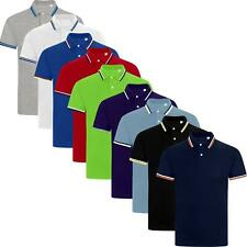 Mens Polo Shirt Tipping Collar Shirts Pique Tee Cotton Blend Golf Work Casual