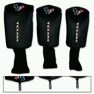 HOUSTON TEXANS 3 Pack Golf Head Covers FREE SHIPPING Embroidered Mesh