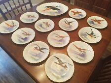 Limoges France 1890s handpainted Rene artist signed gamebird 13 piece set plates