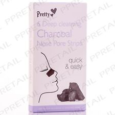 3x Pretty Quick & Easy 6 Deep Cleansing Charcoal Nose Pore Strips