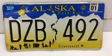 -VINTAGE -2001 ALASKA LICENSE PLATE (~ DZB 492~) CENTENNIAL ALASKA FREE SHIPPING