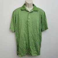 Peter Millar Mens Polo Shirt Large Green Striped 100% Cotton Short Sleeve Golf