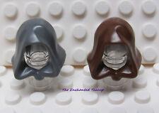 Lego Jedi Hood - Brown Dark Bluish Gray - Lot of 2 - Star Wars Harry Potter New