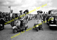 Photo - Pearly Kings & Queens arriving at Epsom Derby on Vespa scooters, 1952