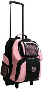 """Transworld Roll-Away 22"""" Deluxe Rolling Backpack (Black/Pink)"""