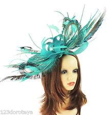 Jade & Peacock Green Fascinator for Ascot, Weddings, Proms, Derby, Formal P1