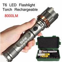 LINTERNA LED RECARGABLE TACTICA 8000LM ZOOM DE LED CREE T6 +Cargador +Bateria T6