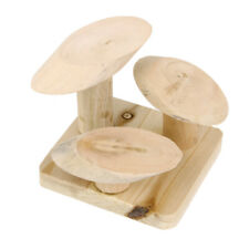 Natural Wooden Mushroom Stair Ladder Stand Play Platform Mouse Hamster Toy