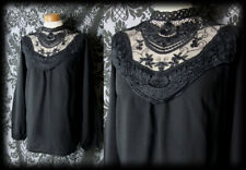 Gothic Black Sheer Lace Bib TRANSYLVANIAN Smock Blouse 10 12 Victorian Witchy