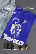 Thin Lizzy t shirt Phil Lynott Dublin Ire Classic Rock 70s Soft Cotton Royal Ad