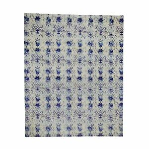 8'x10' Sari Silk With Textured Wool Hand-Knotted Ikat Design Purple Rug R46017