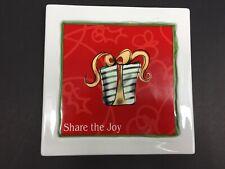 "Russ Christmas Tile Trivet ""Share the Joy"" Red Green 6"" Square Hanging Decor"