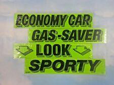 $CAR DEALER LOT 4 dozen AUTO WINDSHIELD ADVERTISE SLOGAN STICKERS #6 green/black