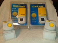 NEW 2 Pack - Plug & Safe PS8 Home Motion Sensor  with RX6 Siren - Yellow