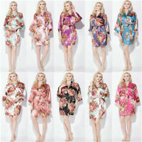 New Floral satin bridesmaid robes gowns bride bath robe wedding kimono robes