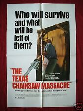 THE TEXAS CHAINSAW MASSACRE * ORIGINAL MOVIE POSTER 1SH 1980 NEW LINE HALLOWEEN