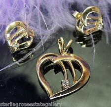 """Child's 5/8"""" Heart Diamond 10KT Yellow Gold Estate Pendant & post earrings set"""