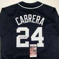 Autographed/Signed MIGUEL CABRERA Detroit Blue Baseball Jersey JSA COA Auto