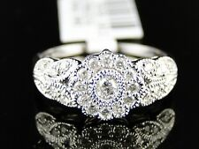 10K Ladies Womens White Gold Cluster Round Cut Diamond Flower Designer Ring