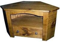 SOLID WOOD CORNER TV CABINET STAND ENTERTAINMENT UNIT rustic plank pine furnitur