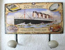 TITANIC Kleiderhaken Hakenleiste 2 Haken Blechschild Porzellan Nostalgie Antik