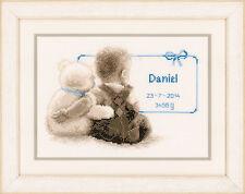 Cuddle Teddy : Birth Record : Vervaco Counted Cross Stitch Kit  - PN0021672