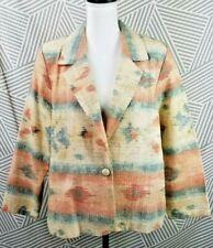 Vtg Southwestern Aztec Print Pastel Blazer Womens Size 16 P Jacket Coat Cotton