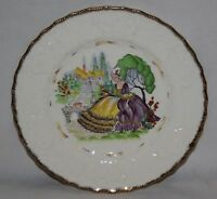 """Alfred Meakin - Crinoline Lady - 9"""" Relief Moulded Plate - c1930"""