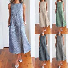 Women Casual Striped Print Sleeveless Holiday Fashion Pocket Long Beach Dress