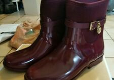 MICHAEL KORS Merlot (Burgundy) Charm Stretch Rain Bootie Boots NIB Wmns Sz 8M