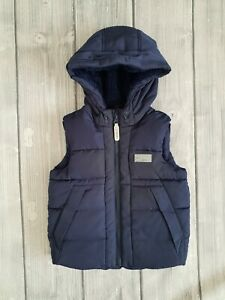 JUNIOR J navy padded lined insulated warm hooded gilet bodycoat size 3-4 y