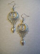 LARGE MOROCCAN ETHNIC FILIGREE STYLE HEART HIPPY BOHO GYPSY EARRINGS