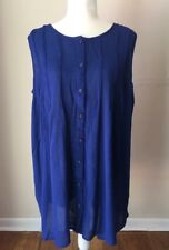 Roamans Plus Blouse 30W  Sleeveless  Button Down Pleated Royal Blue Tunic New