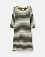 Joules Womens 211410 Bci Cotton Dress With 3/4 Sleeve - Khaki Bee Stripe