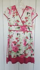 Bandolino size 16 dress white /pink green floral print,cotton spandex lined NEW