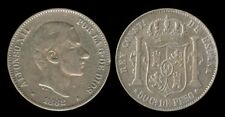 50 Centimos ALFONSO 1882 Spanish Philippines Coin VF