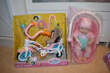 zapf baby born & my first  annabell doll & car seat,bike toys bundle accessories