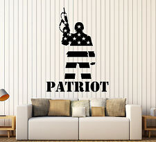 Vinyl Wall Decal Patriot American Soldier Flag Warrior Stickers Mural (ig4396)