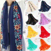 Embroidery Women Winter Scarf Floral Print Cotton Linen Shawl Keep Warm Soft