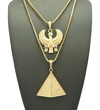 "24"",30"" Chain 2 Necklace Set Rc1503G Hip Hop Micro Horus Bird, Pyramid Pendant"