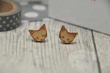 Pendientes de gato, puente de madera pendientes, joyas, regalos de gato, Puente