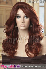 GLAMOUR! Stunning Long Curly Lace Front Wig HEAT FRIENDLY Auburn Red Tips