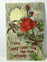 "Vintage Rose Birthday Postcard 3 1/2"" X 5 1/2"""