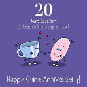20th Anniversary Greetings Card - Happy China Anniversary, Wedding Anniversary
