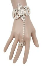 Sexy Women Gold Metal Fashion Hand Chain Bracelet Slave Ring Flower Floral Fancy