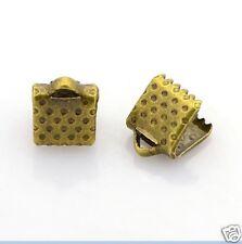 50 x Bronze Ribbon End Clasps - 8mm x 6mm