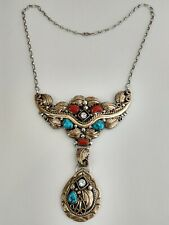 Vintage Navajo Turquoise Coral Sterling Silver Necklace Harry B. Yazzie
