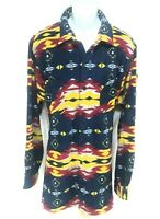 King Size Shirt Mens Size XL Multicolor Southwest Pattern Button Front LS Fleece